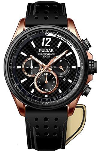 Pulsar Herren-Armbanduhr XL Sport Analog Quarz Leder PT3540X1