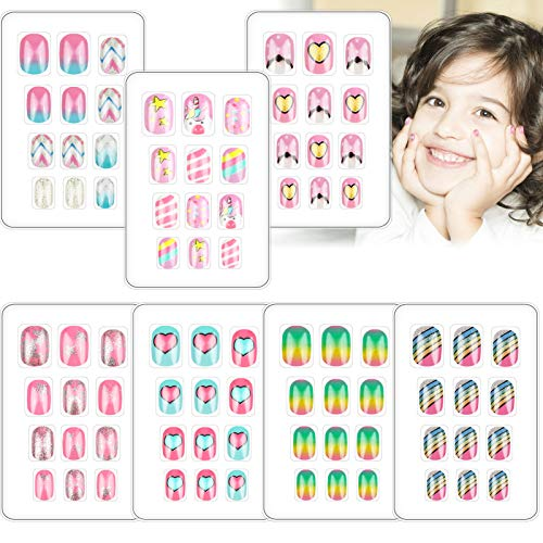 84 PCS Press on Nails for Kids Fake Nails Children Glue-On Cute Short Glitter Gradient Color False Nail Kit Full Cover Artificial Rainbow Mermaid Decoration Children's Day Gift for Little Girls Manicure