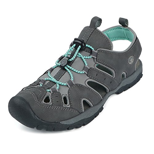 Northside Women's Burke II-W Sport Sandal, Dark Gray/Aqua, 6 M US