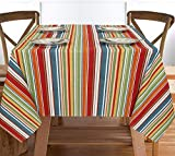 Ruvanti Table Cloth (60X120) 10-12 Seats .Wrinkle Free 100% Cotton Rectangle Tablecloth. Washable/Reusable. Salsa Red Stripe Table Cloths Table Cover for Christmas/Thanks Giving Dinners.