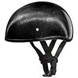 Daytona Helmets Carbon Fiber Slim Line Skull Cap Half Shell Helmet (X-Large) with Head Wrap and Draw String Bag