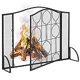 Best Choice Products Single Panel 40x29in Heavy-Duty Steel Mesh Fireplace Screen, Living Room Decor w/Locking Door