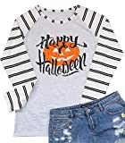 Plus Size Funny Halloween Shirt for Women Long Sleeve Halloween Raglan Baseball Tee Shirt Top Size XXL (White)