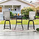 LOKATSE HOME 3 Pcs Bar Stools Set 2 High Swivel Chairs and 1 Height Outdoor Bistro Table, Patio Furniture, Grey Tesling Fabric