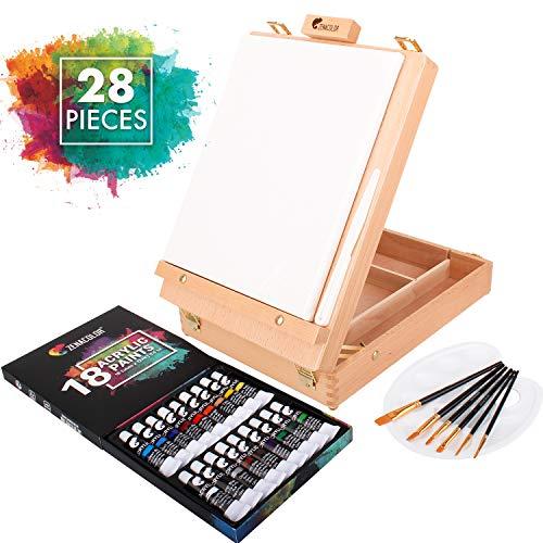 Zenacolor Komplettes Malset mit Etui und Arbeitsfläche, 18 Tuben Acrylfarbe, 6 Künstler-Pinsel - 24x30 cm Leinwand, mit Gratis Spachtel und Palette Künstler Aller Level