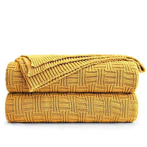 Longhui bedding Cotton Mustard Yellow Knit Throw Blanket for Couch Sofa Beach Chair Bed Home Decorative Soft Warm Cozy Cable Lightweight Knitted Blankets,50 x 60 Inch, 2.2 Pounds