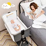 BABY JOY Baby Bassinet, Folding Bed Side Crib w/ 7 Adjustable Height, Infant Portable Bedside Bassinet w/Breathable Mesh Windows & Mattress, Large Storage Space, Wheels for Easy Movement, Dark Grey