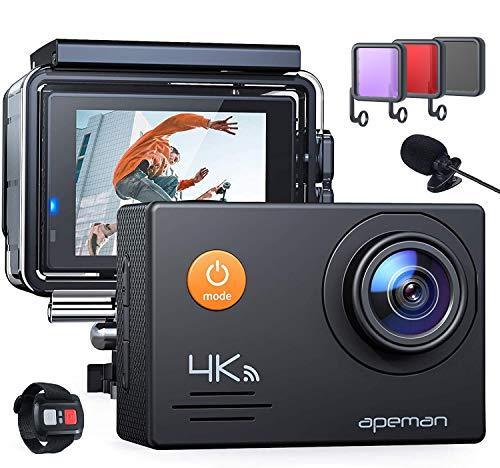 APEMAN Action Cam A79, 4K 20MP Wi-Fi Impermeabile 40M con 3 in 1 Filtri Telecomando e Microfono Esterno Fotocamera Subacquea Digitale, Anti-Shaking Stabilizzazione Videocamera, Time Lapse Slow Motion