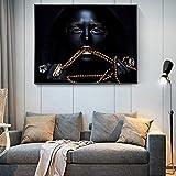 Mujer africana con joyas de oro carteles de arte en lienzo chica negra pinturas...