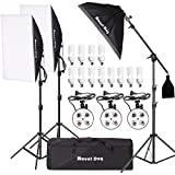 MOUNTDOG 2400W Softbox Photography Lighting Kit 20'x 28' Professional Continuous Studio Lighting Equipment with Boom Arm Hairlight and Carry Case for Portrait Product Video Shooting