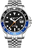 Easy to read luminescent hands and indices, collected in a coin edge bezel. GMT dual time track another time zone with the second hand and the outer bezel Fully adjustable jubilee stainless steel link bracelet with push button deployant safety clasp....