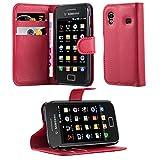 Cadorabo Coque pour Samsung Galaxy ACE 1 en Rouge Cerise – Housse Protection avec Fermoire Magnétique, Stand Horizontal et Fente Carte – Portefeuille Etui Poche Folio Case Cover