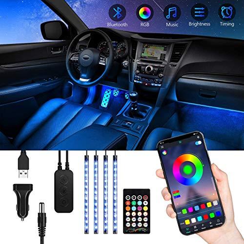Striscia LED Auto Interni con APP, TASMOR Bluetooth Luci LED Auto con 48 led RGB 5050 8 Colori Multicolore Impermeabili, Strisce LED Auto Musica Kit di illuminazione Sync to Music, DC 12V