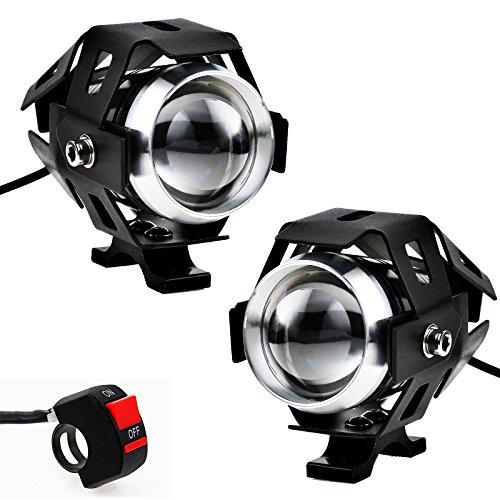 Justech 2 X Motorrad Scheinwerfer mit Schalter Motorrad vorne Scheinwerfer 2 Stück 125W 3000LM CREE U5 LED Motorrad Nebelscheinwerfer mit 3-Tasten Schalter