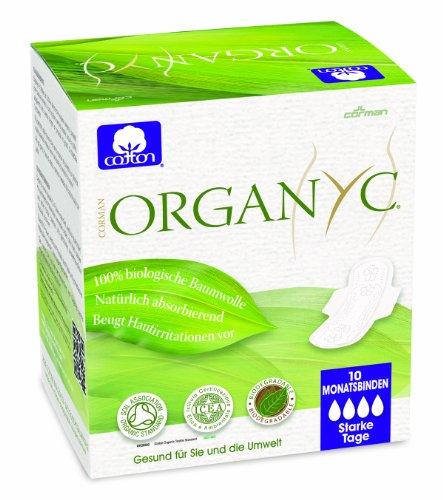 Organyc - Assorbenti con ali per la notte, 100% cotone biologico, 4 confezioni da 10 pz