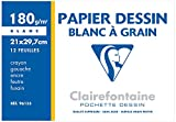 Clairefontaine 196155AMZC Dessin à Grain pochette 12F 21x29,7cm 180g à grain Blanc - lot de 2