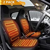 Tvird Car Heated Seat Cushion 2-Pack 12V Car Seat Heater Comfortable Auto Heated Seat Cover Adjustable Temperature for Cold Weather, Winter Driving Safer, Nonflammable UL Wiring-2020 Upgraded(Black)