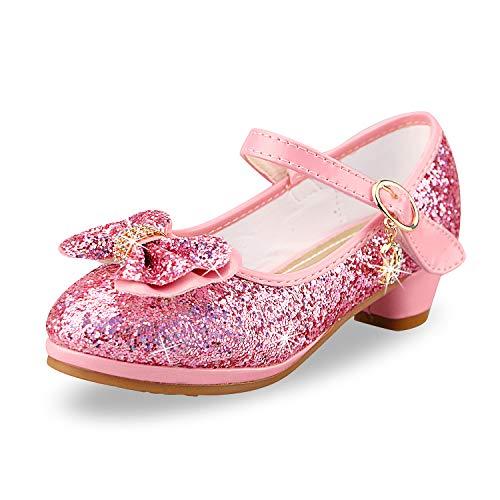 anbiwangluo Zapatos de Lentejuelas de Niña Zapatos de Tacón Alto de Princesa Zapatos de Fiesta de Niños 27 EU/Tamaño de la Etiqueta 28 Rosado