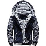 MACHLAB Men's Pullover Winter Workout Fleece Hoodie Jackets Full Zip Wool Warm Thick Coats Dark Blue#63 L