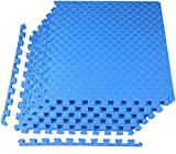BalanceFrom 1' EXTRA Thick Puzzle Exercise Mat with EVA Foam Interlocking Tiles for MMA, Exercise, Gymnastics and Home Gym Protective Flooring (Blue)