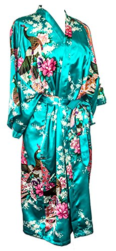 CC Collections Kimono 16 Colours Premium Version Free 1st Class UK Shipping Dressing Gown Robe Lingerie Night wear Dress Bridesmaid Hen Night (Blue Turquoise)