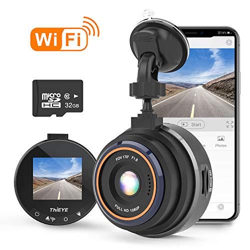 THIEYE Dashcam WiFi 1080P Full HD Auto Camera Video Recorder con 32 G SD Card per veicoli con 170 ° WDR sensore di movimento, monitor di parcheggio, registrazione loop, visione notturna e sensore G