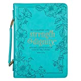 Teal Floral Fashion Bible Cover for Women She is Clothed Strength Dignity Proverbs 31 Woman Bible Case/Book Cover, Faux Leather, Large