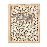 Livre d'or de mariage personnalisé en bois Mr & Mrs gravé Style rustique 35x...