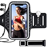 Autkors Brassard de Sport, Brassard Smartphone de Course pour iPhone 12/12 Pro/11/11 Pro/XR/X/8/7/6 Plus Jusqu'à 6.1 Pouces Ajustable Sangle d'extension Écologique Lycra Porte-Clés Poche de Carte