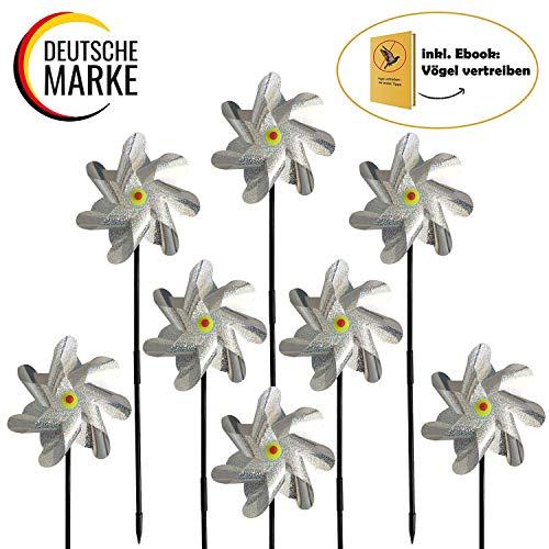 tiroba 8 Stück Vogelabwehr reflektierende Windmühle, Vogelschutz für Garten und Balkon, Vogelschreck Windräder