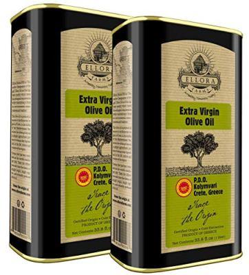 Ellora Farms, Global Gold Award Winner, Single Origin & Estate Traceable Extra Virgin Olive Oil, First-Cold Pressed, Certified PDO, Harvested in Crete, Greece, Kosher OU, 1 Lt (33.8 oz.) Tins, Pack of 2
