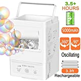 Bubble Machine Automatic Bubble Blower, Portable Bubble Maker Rechargable Outdoor for Kids, Indoor Bubble Toys 5000 Bubbles per Minute with 3 Bubbles Blowing Speed, High Output for Parties Birthdays