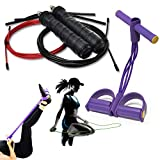 Home Workout Ropes or Therapy Trainer-Exercises Weight Loss Jump Rope+Resistance Physical,Stretching Leg/Arm/Stomach Muscle Tension Straps-Band Fitness Equipment Bundle for Adults;Women,Men,Boys,Girls