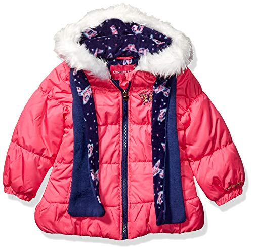 LONDON FOG Girls' Little Quilted Puffer Jacket with Scarf, Poppy Shock, 4