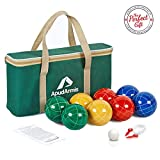 ApudArmis Bocce Balls Set, Outdoor Family Bocce Game for Backyard/Lawn/Beach - Set of 8 Poly-Resin Balls & 1 Pallino & Nylon Carrying Case & Measuring Rope (90mm)