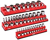 ARES 60035-3-Piece Set SAE Magnetic Socket Organizers - RED -Includes 1/4 in, 3/8 in, 1/2 in Socket Holders - Holds 68 Standard (Shallow) and Deep Sockets - Also Available in GREEN