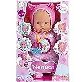 """Bambola Nenuco morbida con vestito rosa con 5 funzioni Premendole le manine pronuncia """"Ma-ma"""" e """"Pà-pa"""", ride, piange e succhia allegramente il suo ciuccio Proprio come un vero neonato Coccola la tua Nenuco"""