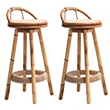 JGYu Bamboo Bar Stool 360° Rotating Bacrest Set of 2 Pcs Kitchen Counter Home High Stool footrests (Color : Wood)