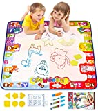 KIZZYEA Water Doodle Mat, Kids Large Aqua Coloring Mat, Mess-Free Drawing Mat with Neon Colors, Educational Toy for 2, 3, 4, 5, 6 Years Old Kids,Toddlers,Boys,Girls