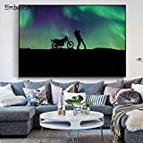 BailongXiao Cuadro En Lienzo Aurora Lovers Wall Home Decoration Living Room Art Posters pictures45x70cmPintura sin Marco