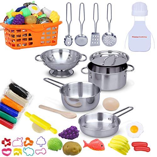 JoinJoy Cucina Giocattolo per Bambini Finti Alimenti con Argilla e Pasta modellabile, Cucina Giocattoli in Acciaio Inossidabile per Bambina 40 PCS