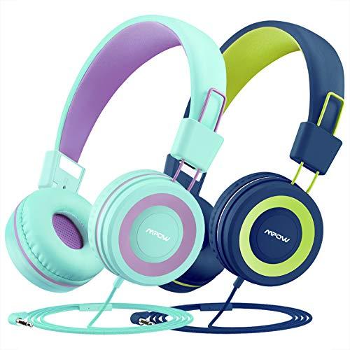 Casque Enfant, Mpow CH8 Casque d'écoute 2 Pack, limiteur de Volume de 91dB et Protection de l'ouïe, Fil en Nylon sans enchevêtrement, Pliables et durables avec séparateur Audio et Microphone en Ligne