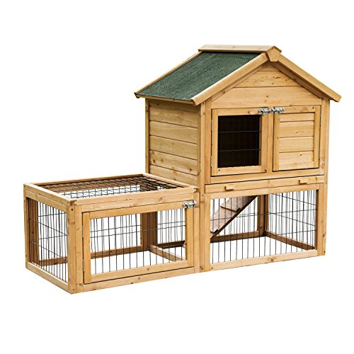 PawHut 53' Backyard Wooden Chicken Coop Rabbit Playpen Hutch Pet House Poultry Cage With Outdoor Run