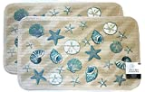 Mainstay Coastal Starfish Seashell Kitchen Rug, Door Mat, Set of 2
