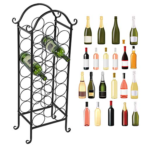 Ausla Porta Bottiglie in Ferro, Scaffale a Forma ad Curvo per Vino Cantinetta Portabottiglie per 21 Bottiglie, 20 x 34 x 88 cm