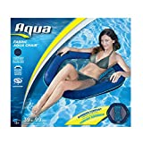 Aqua Inflatable Pool Float, Lounge Chair, Batik Fabric Print, Navy