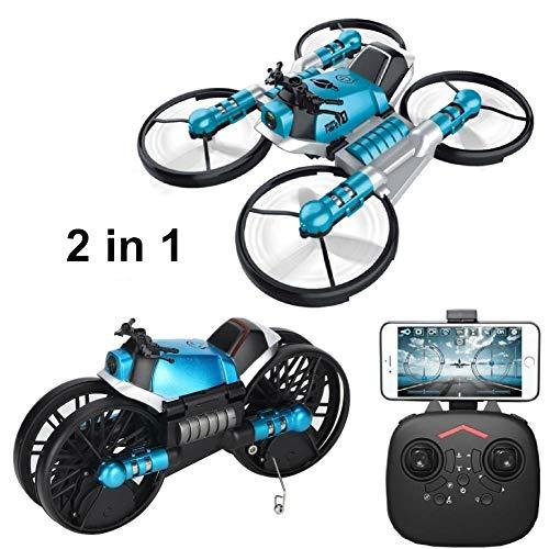 2.4 GHZ Mini Drone + Mini Moto 2 in 1, con Telecomando e Telecamera Wi-Fi Live Video, Distanza...