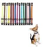LOMYLM 15 collares para cachorros ajustables de 17,5 cm a 26 cm, collares de perro pequeños, collares de nailon para cachorros recién nacidos a 10 semanas de edad, 15 colores