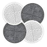 Homitt Replacement Pads 6.5in - Compatible with Gobot and Homitt Spin Scrubber Mops for Hard Floor - Microfiber Washable Re-usable - Soft and Scrubby | 2 Soft Pads + 2 Scrubby Pads | 4 Pack