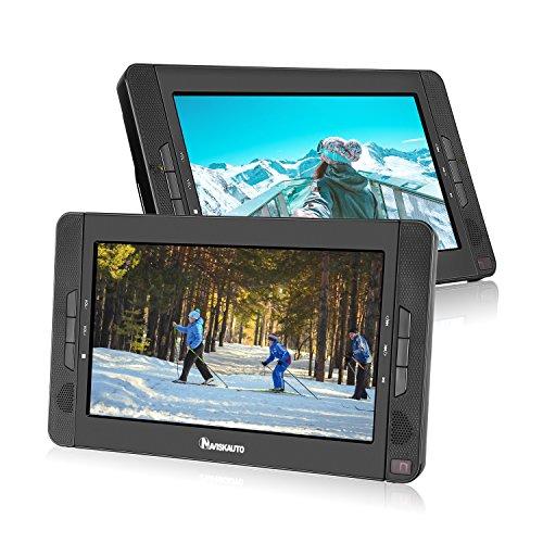 """NAVISKAUTO 2 10,1\"""" Tragbarer DVD-Player 5 Stunden Auto Kopfstütze Monitor 1024*600 HD Bildschirm Kopfstützenhalterung, SD/USB, AV IN/OUT 12V 10002B"""